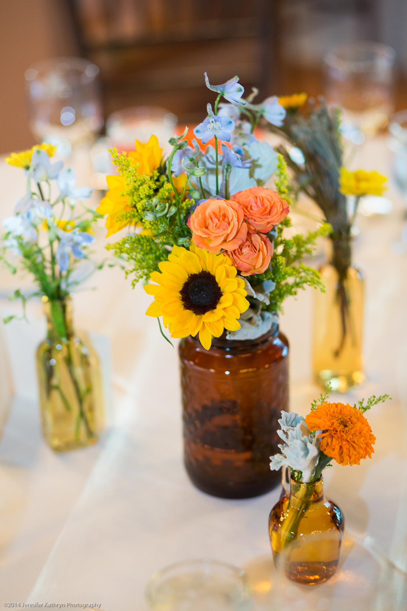 Amber glass collection tablescape