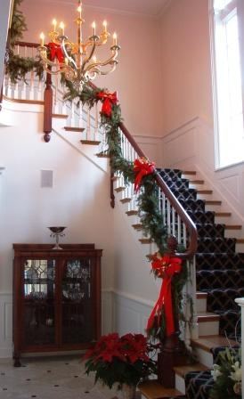 Fresh staircase garland