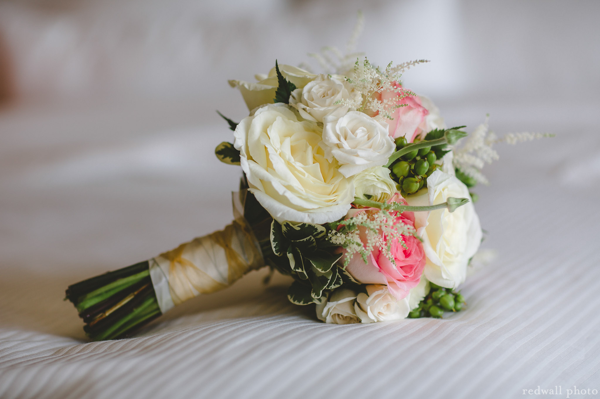 roses & astilbe with gold ribbon wrap
