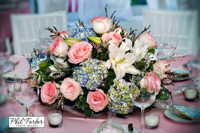 roses, hydrangea centerpiece