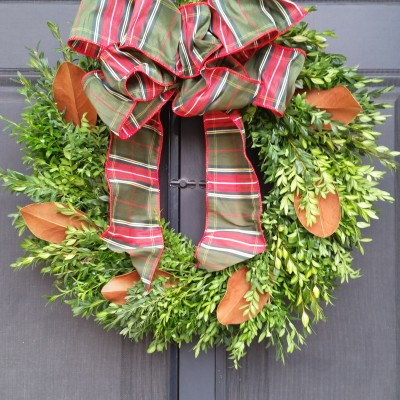 boxwood/magnolia wreath with plaid bow