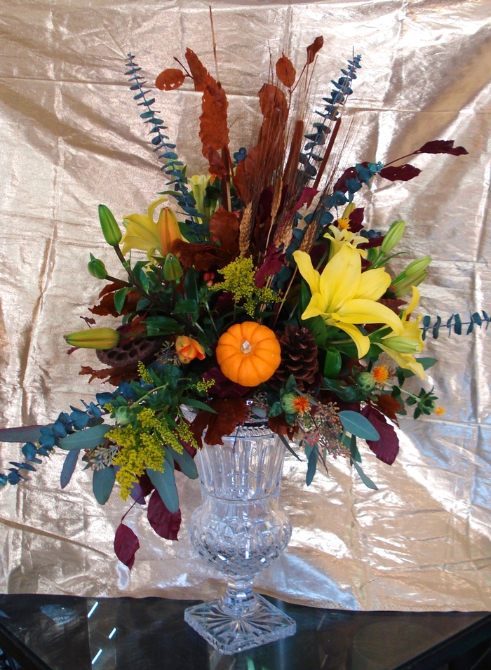 Custom Flower Arrangement with Pumpkin