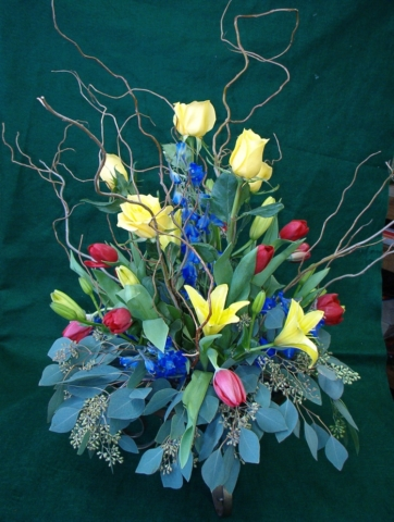 Custom Flower Arrangement with Tulips and Lilies