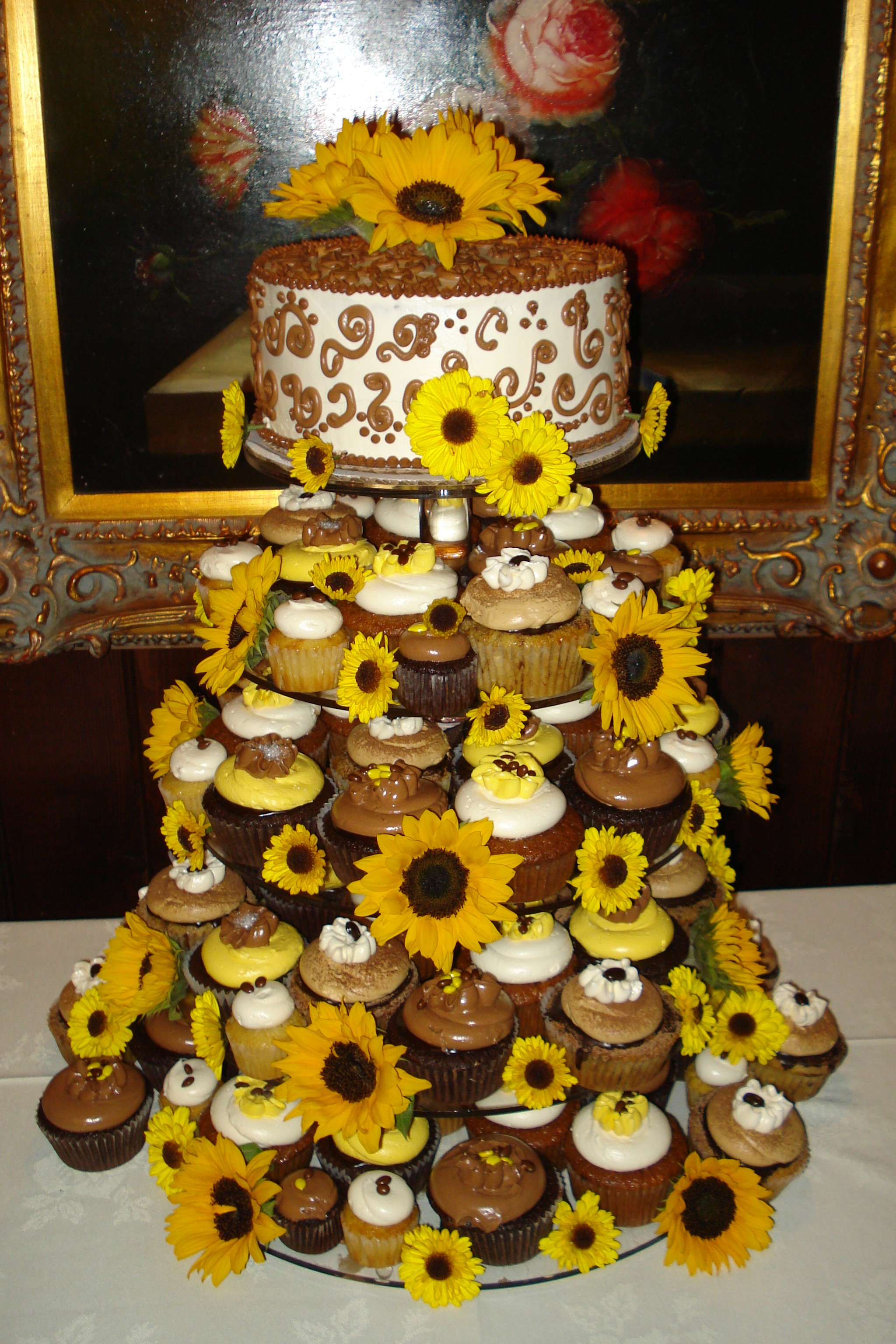 Cupcake tower with sunflowers