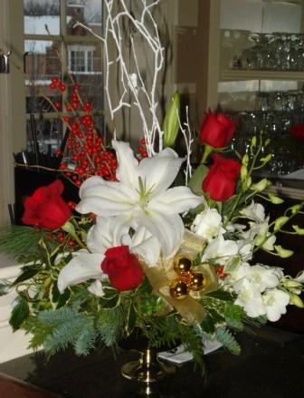 red roses, white lilies, etc
